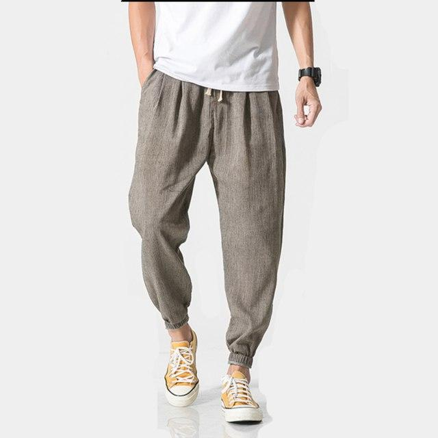 Chinese wind men's cotton and linen casual pants loose retro halton pants large size thin section of pure color radish pants-cgabuy
