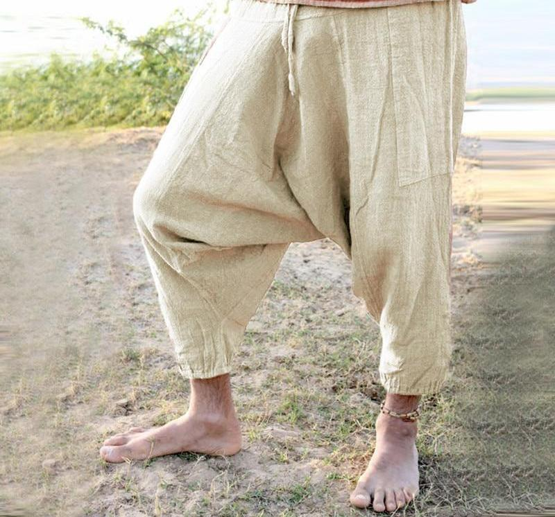 Retro Hiphop Boho 5XL Women Men Baggy Harem Pants Wide Pants Big Crotch Trousers Elastic Waist Ankle Length Joggers For Unisex-cgabuy