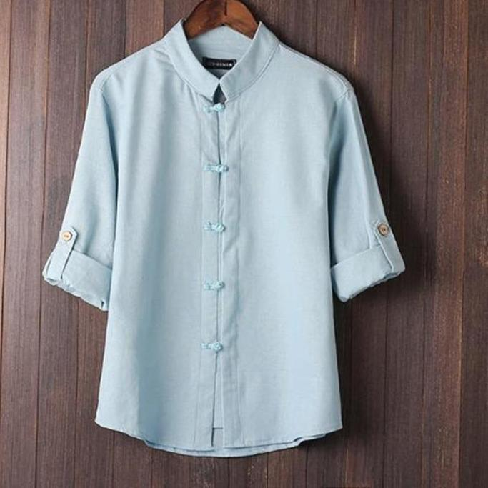 YYear Mens Buttons Long Sleeve Round Neck Chinese Style Linen Casual Shirts