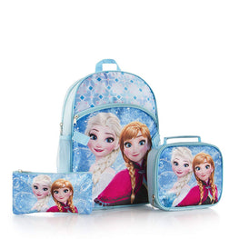 Heys Disney Frozen Anna Elsa Brand New Classic Designed Eye Catching Deluxe Blue Backpack Lunch Bag with Pencil Case 3 Piece 15 Inch