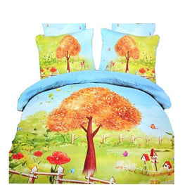 Todd Linens Summer Trees Leaves 3 Pcs Queen Set 1 Duvet Cover + 2 Pillow Case Active Print Bedding Set