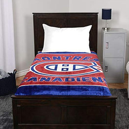 NHL Luxury Velour High Pile Blanket - Twin Size 60 x 70 Inch (Montreal Canadiens)