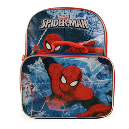 Marvel Amazing Spider Man Classic Designed Kids Backpack with Detachable Insulated Lunch Kit 15 Inch