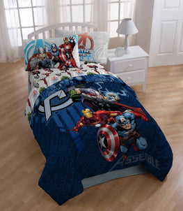 Marvel Avengers Cartoon Characters 4 Piece Kids Twin Bedding Set
