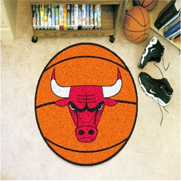 NBA - Basketball Mat 27 Inch Diameter Durable Floor Protector Non Skid Rug Mat (Chicago Bulls)
