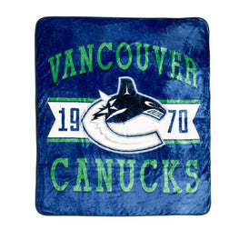 "NHL Luxury Velour Blanket - Vancouver Canucks Ultra Soft Throw Blanket 60"" x 80"""