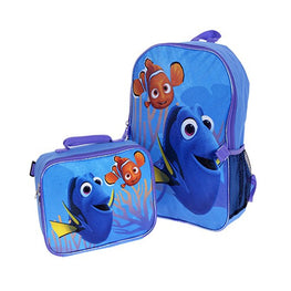 "Disney Finding Dory 16"" Backpack + Insulated Lunch Bag Official Licensed"