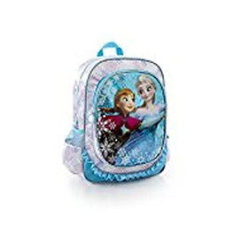 Disney Frozen Anna Elsa Deluxe Girls Large Backpack 15 inch (Blue Glitter)