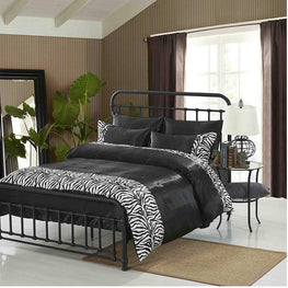 Tiger Zebra Satin 6 Pcs Silky Sexy Bedding Set Queen Duvet Cover Fitted Sheet & 4x Pillowcases (Zebra Black)