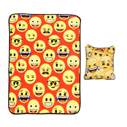 Emoji 97857 2 Pack Kids Soft Throw Blanket and Pillow 40 x 50 Inch