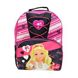 Barbie Deluxe Lace Girls Pink / Black School Backpack 16 inch