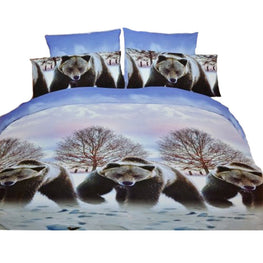 Bears Snow Land 3 Pcs Queen Set 1 Duvet Cover + 2 Pillow Case Active Print Bedding Set