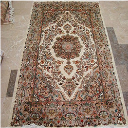 Love Birds Baagh Ivory Medallion Flowers Hand Knotted Rug Wool Silk Carpet 6x4