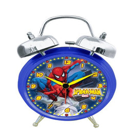 Marvel Spiderman SMC100TB Quartz Analog Twin Bell Alarm Clock (Blue/Silver)