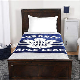 Toronto Maple Leafs Luxury Velour High Pile Blanket - Twin Size 60 x 70 Inch [Blue]