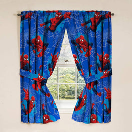 "Marvel Spiderman 'Astonish' 42"" x 63"" Curtain Panel Pair with Tie Backs Drape Set, 63 Inch,"