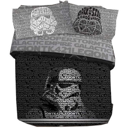 Star Wars Adults Full Size Duvet Cover and Pillowcase Set - 3 Piece [Black]