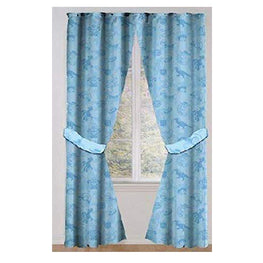 Disney Pixar Toy Story Rod Pocket Drapes Window Panel Curtains with Tie Backs for Kids Room - 42 x 63 Inch [Light Blue]