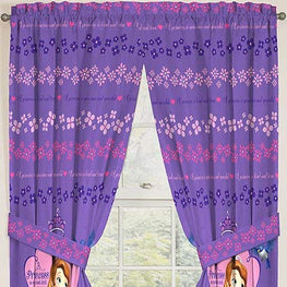 "Disney Junior Sofia The First Princess Drapes Kids Window Curtains with Tie Backs - 2 Panels (42"" x 63"")"