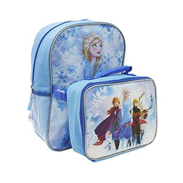 Disney Frozen II Elsa Backpack with Anna Elsa Sven Kristoff Olaf Detachable Lunch Box 2 Piece Set for kids - [Sea Blue]
