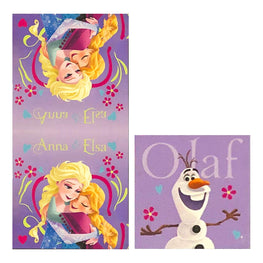 Disney Frozen Kids 2 Piece Cotton Towel Set - Bath Towel & Wash Cloth Set [Purple]
