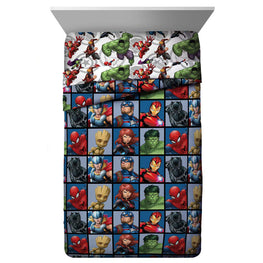 Marvel Avengers Team Twin Comforter - Super Soft Kids Reversible Bedding - Fade Resistant Polyester Microfiber Fill (Official Marvel Product)…