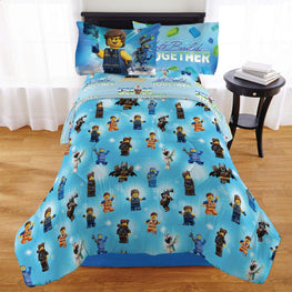 "LEGO Movie 2""Rex-treme 4 Piece Kids Twin Bedding Set Plus Bonus Tote"