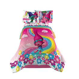 Trolls Show Me A Smile Twin/Full Comforter with Full Sheet Set Kids Bedding Sheet 5 Piece Set [Multi-Color]