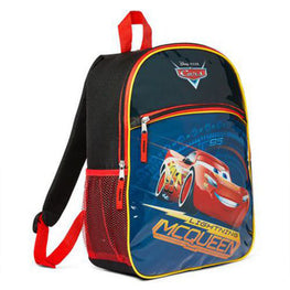 Disney Pixar Cars Lightning McQueen Dual Compartment Backpack 15 Inch School Bag for Kids