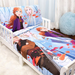 Disney Frozen II 3 Piece Toddler Bedding Set - Comforter, Fitted Sheet and Pillowcase