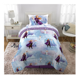 "Disney Frozen II ""Snow Wheat"" Kids Twin Bed Sheet Set 4 pcs plus Bonus Tote - [Anna, Elsa and Olaf]"
