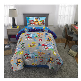 "Paw Boy ""Dogs on the Loose"" Kids Twin Bed Sheet Set 4Pcs plus Bonus Tote -[Chase, Marshall, Skye and their pals]"