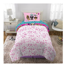 "Lol ""Pets and Pink"" Kids Twin Bed Sheet Set 4Pcs plus Bonus Tote"