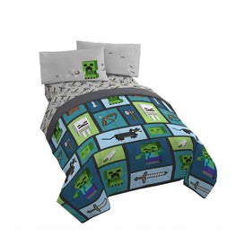 Minecraft Excellent Designed 4pc Kids Twin Bed Sheet Set and Bonus bag