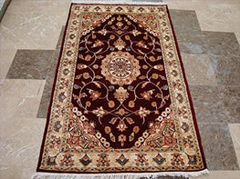 AHMEDANI Mid Night Red Floral Medallion Area Rug Hand Knotted Wool Silk Carpet (5 x 3)'