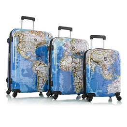 "Explore Map Hard Side Spinner Luggage 3pc. Set - 21"", 26"" & 30"""