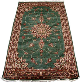 Wow Silver Grey Floral Medalion Area Rug Hand Knotted Wool Silk Carpet (5 x 3)'