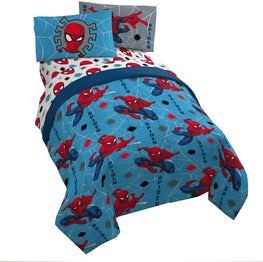 Spiderman Twin 4-Piece Bed Set Plus Bonus Bag, Includes Reversible Comforter, Fitted Sheet, Flat Sheet, Pillowcase