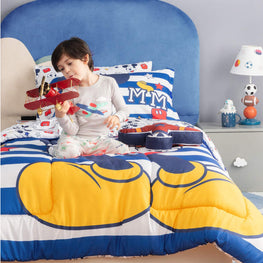 Disney Mickey Mouse Bed in A Bag Twin Comforter Set for Kid's with Reversible Comforter, Flat Sheet, Fitted Sheet, Pillowcase & Sham - 5 Pcs Set for Kids