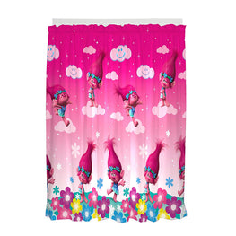 Trolls Jumping Poppy Rainbows Drapes Kids Window Curtains with Tie Backs - 2 Panels 82X63 Inch (Pink)