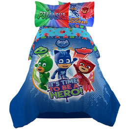 PJ Masks It's Hero Time Kids Bedding Sheet Twin Sheet Set with Comforter 4 Piece - [Blue]