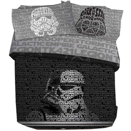Star Wars 5-Piece Unisex Queen Bedding Sheet Sets - Comforter, Sheets and Pillowcases [Black/Grey]