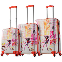 Mia Toro Italy Izak-Chic Voyage Hardside Spinner Rolling Luggage 3 Piece Set