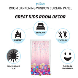 Disney Frozen Breeze [Anna and Elsa] Room Darkening Kids Curtain Window Panel 42 X 63-Inch (Pink)