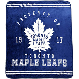 NHL Luxury Toronto Maple Leafs Velour High Pile Blanket - Twin Size 60x70 Inch