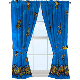 Nickelodeon Teenage Mutant Ninja Turtles 'Mean Green' Blue Curtains/Drapes 4 Piece Set (2 Panels, 2 Tiebacks)
