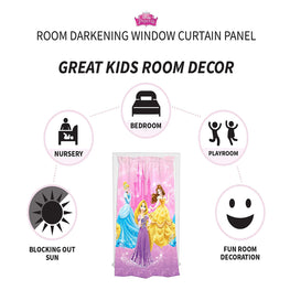 Disney Princesses Aurora, Cinderella & Rapunzel Grand Beauty Room Darkening Kids Curtain  Window  Panel 42 X 63Inch (Pink)
