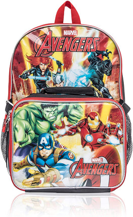 Marvel Avengers 15 Inch Backpack with Detachable Lunch Bag for Kids