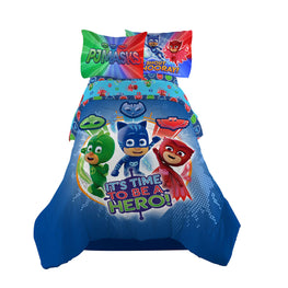 "PJ Masks ""It's Hero Time"" Kids Bedding Sheet Full Sheet Set with Twin/Full Comforter - 5 Piece [Blue]"