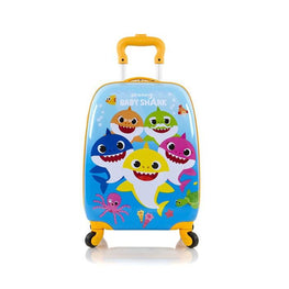 Pinkfong Hardside Carry-on Suitcase 18 Inch Spinner Luggage for Kids [Baby Shark Family]